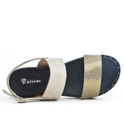 Beige sandal in bi-material