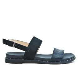 Black sandal in bi-material
