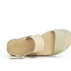 Beige sandal with espadrille sole