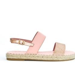 Sandalia rosa con suela de alpargata