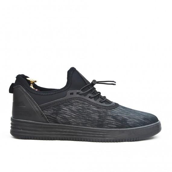 Basket noire détail imprimé à lacet