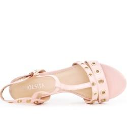 Sandale rose en vernis