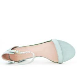 Sandale bleu à talon pailleté
