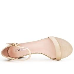 Sandale beige à talon pailleté