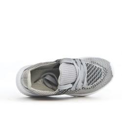Gray child's basket in stretch fabrics