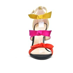 Tricolor sandal with bow