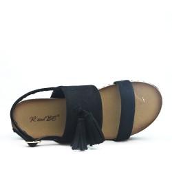 Sandale noire en simili daim à pompon