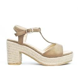 Sandale kaki en simili daim