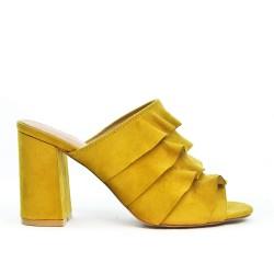 Mule jaune en simili daim à volant