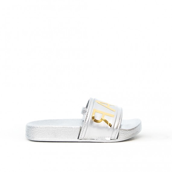 Silver girl sandal with elastic