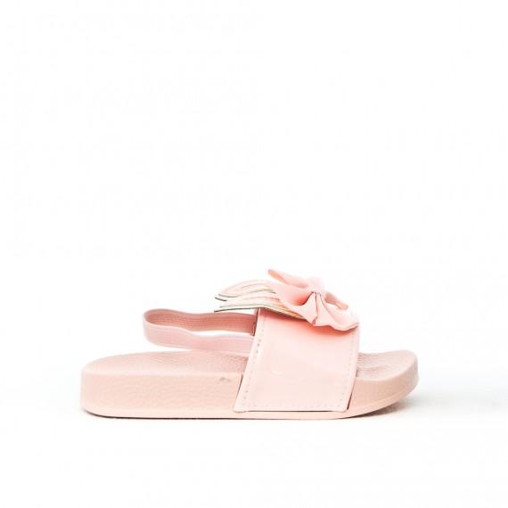 Sandalia chica rosa con patrón de conejo