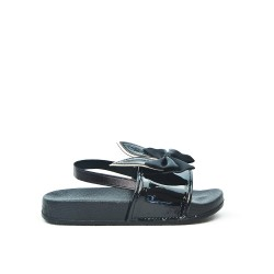 Black girl sandal with rabbit pattern