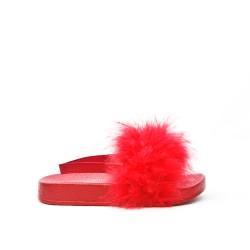 Sandalia niña roja con plumas