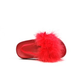 Sandal red girl with feather