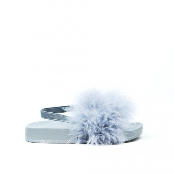 Gray girl sandal with feather