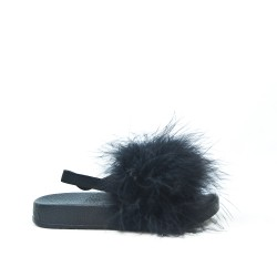 Black girl sandal with feather