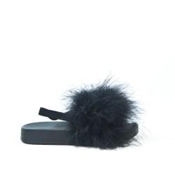 Sandale fille noire à plume