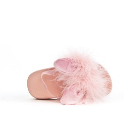 Pink rabbit girl sandal with feather