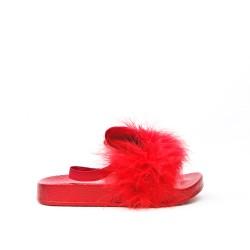 Sandale lapin fille rouge à plume