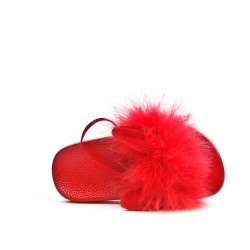 Sandal rabbit red girl with feather