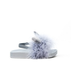Sandale lapin fille grise à plume