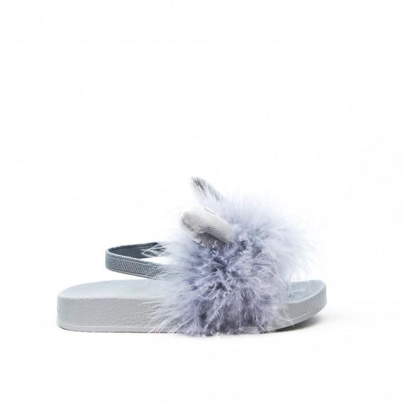 Sandalia conejo gris niña con plumas