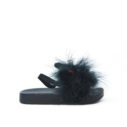 Sandal rabbit black girl with feather
