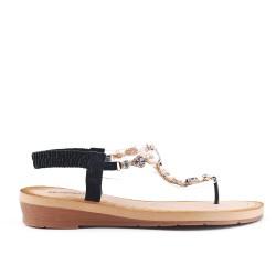 Sandale noire à détail transparent orné de perle