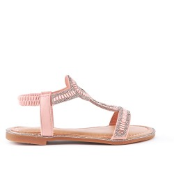 Sandale plate rose orné de strass