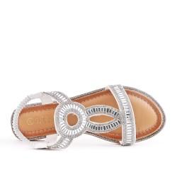 Sandale plate planche orné de strass