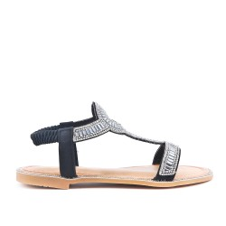 Sandale plate noire orné de strass