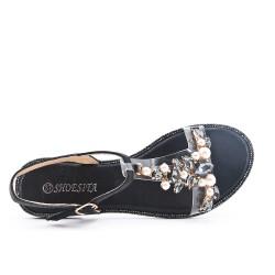 Sandale noire à détail transparent orné de strass