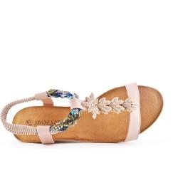 Sandale rose à petit compensé