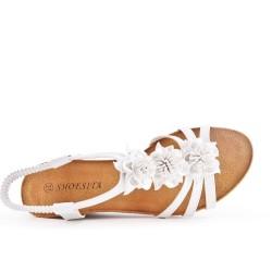 Sandale blanche à fleur