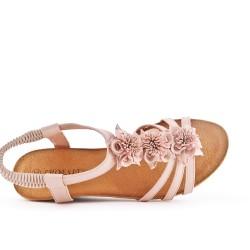 Sandale rose à fleur