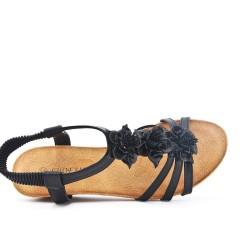Sandale noire à fleur