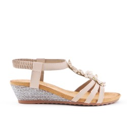 Sandale beige à fleur