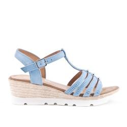 Sandale bleu en simili daim à petit compensé
