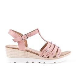 Sandale rose en simili daim à petit compensé