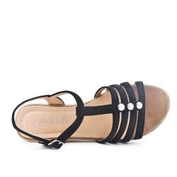 Sandale noire en simili daim à petit compensé
