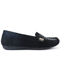 Black loafer with large rhinestones