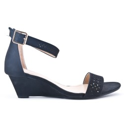 Black wedge sandal in large size