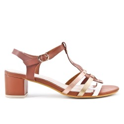 Camel sandal with square heels in large size