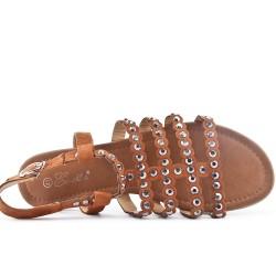 Camel flat sandal in large size