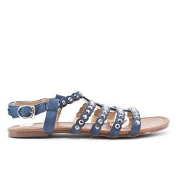 Blue flat sandal in large size