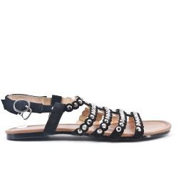 Sandalia plana negra de gran tamaño