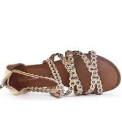 Beige flat sandal in large size