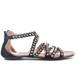 Black flat sandal in large size