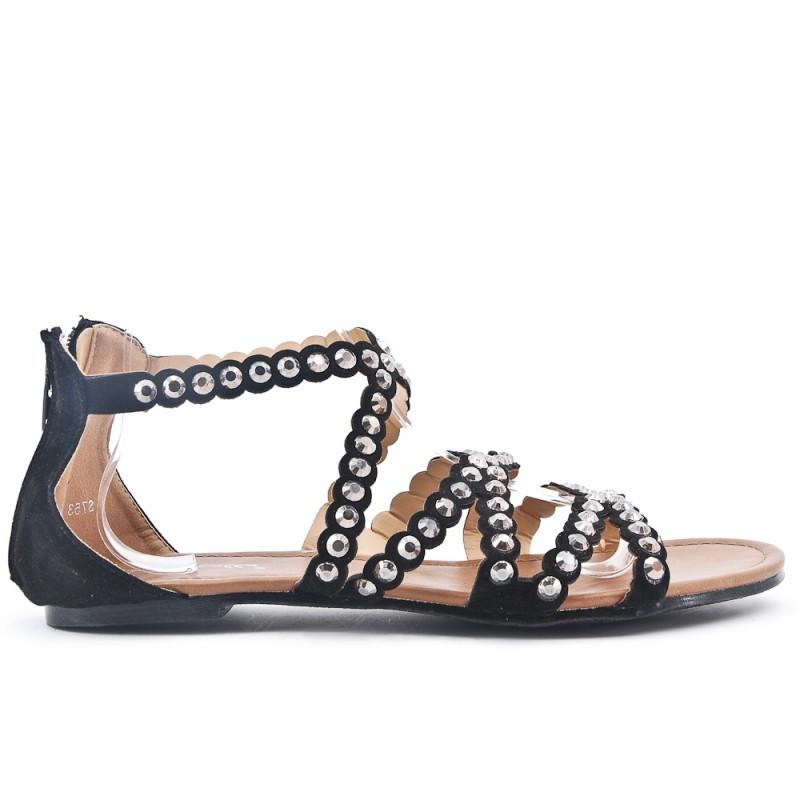 Noire Sandale Taille Grande En Plate 8wk0ONnPX