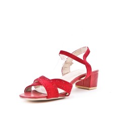Red sandal with large rhinestones